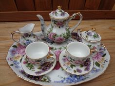Royal Cotswolds Miniature Porcelain Tea Set White w Gold Trim Colorful Floral Motif.