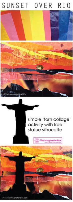The ImaginationBox: Kids can create a stunning torn paper collage 'Sunset Over Rio' with this free silhouette template of Brazil's famous statue, Christ the Redeemer.