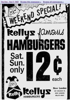 Kelly's Hamburgers on Colman Street. New London, Hamburgers, Connecticut, Street, Burgers, Hamburger, Walkway