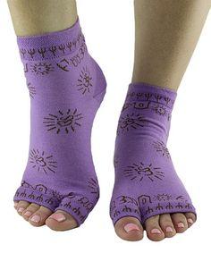 Look what I found on #zulily! Purple & Gray Om Tabi Grippy Toeless Socks by Toezies #zulilyfinds