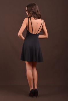 black mini dress back