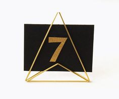 Wedding Table Number Holder BRASS Geometric and Modern