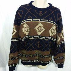 VINTAGE Irish FALCARA Wool Fisherman's Sweater COOL DESIGNS Made in Ireland!-XL #Falcara #Crewneck