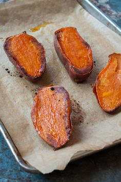 roasted sweet potatoes out of the oven