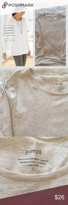 J Jill Oatmeal/Gray Heather Pima Cotton Tee Shirt J Jill Oatmeal/Gray Heather Pima Cotton Tee Shirt. Perfect condition. No tears, rips, stains, or fading. J Jill Tops Tees - Long Sleeve