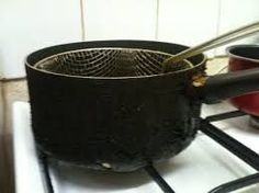 Chip pan... There was always lard in ours. The older the lard, the better the chips tasted.