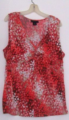 ATTENTION Abstract Peach Multi-Twist Front Sleeveless Knit Top Ladies XL #Attention #KnitTop