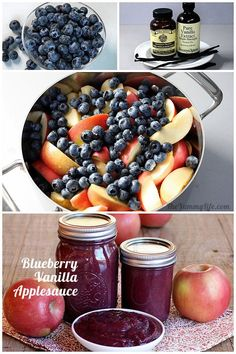 Women's Special: Four-Strategies Flowers Can Modify Your Working Day-To-Day Lifestyle Easy and Healthy Blueberry Vanilla Applesauce. No Peeling, Straining, Or Added Sugar. Fruit Recipes, Apple Recipes, Baby Food Recipes, Healthy Blueberry Recipes, Salsa Dulce, Canning Recipes, Stove Top Recipes, Sauces, Dips