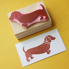 Dachshund Rubber Stamp  Sausage Dog Hand by skullandcrossbuns, £6.00