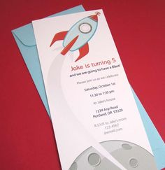 Rocket Party Invitation