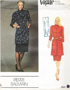 80s Vintage Vogue Paris Original 2620 Pierre Balmain Tunic and Skirt M – SewJewel