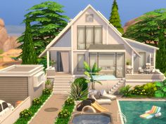 Modern Family House, Sims 4 Game Mods, Sims 4 Mods, The Sims 4 Lots, Mod Hair