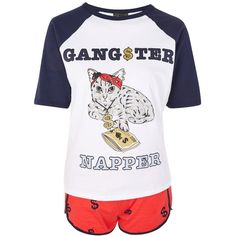 TopShop 'Gangster Napper' Pyjama Set ($40) ❤ liked on Polyvore featuring intimates, sleepwear, pajamas, navy blue, cotton pajama set, cat pjs, cotton pajamas, cat print pajamas and cotton sleepwear
