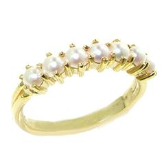 Promise Rings Simple | 14k Yellow Gold Cultured Pearl Womens Eternity Ring  Sizes 4 to 12 Available *** Visit the image link more details. Note:It is Affiliate Link to Amazon.