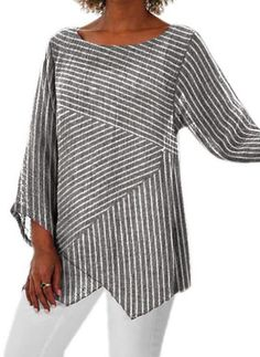 Solid Casual Round Neckline Sleeves Blouses - Gray / S Shirts & Tops, Casual T Shirts, Linen Blouse, Stripes Fashion, Latest Fashion For Women, Fashion Online, Women's Fashion, Pulls, Types Of Sleeves