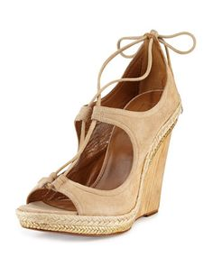Christy Lace-Up Wedge Sandal, Nude by Aquazzura at Neiman Marcus.