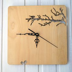 Wood wall clock. Branches and bird by BenditaIndomina on Etsy