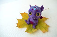 Needle felted little baby-dragon. Sweet purple monster. Cute creature. Collectible toy. Christmas gift. - pinned by pin4etsy.com