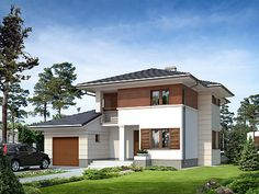 Cyprys  (137 m2) to  reprezentacyjny  i  nowoczesny  dom,  który  swoją  stylistyką  wychodzi  poza  utarte  schematy.  Geometryczne podziały, gzymsy, wykusz i zestawienie  drewna z kamienną okładziną na elewacji dodatkowo uatrakcyjniają kompozycję budynku. Pełna pezentacja projektu znajduje się na stronie: http://www.domywstylu.pl/projekt-domu-cyprys.php.  #projektydomów, #domypiętrowe, #domywstylu, #mtmstyl, #cyprys