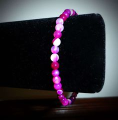 Pink Rose Stripe Agate Bead Bracelet