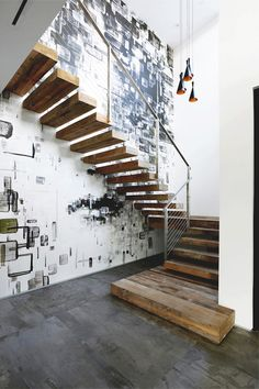 love this stairway. rustic and industrial