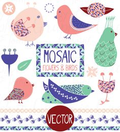 Check out Mosaic Birds & Flowers - Graphic Set by Graphic Joint on Creative Market