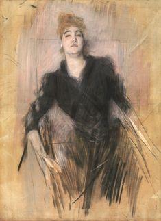 Giovanni Boldini (Italian, 1842-1931) - Ritratto femminile o Signora con abito nero seduta di fronte - 1890 - pastelli su carta - Collezione Roberto Casamonti