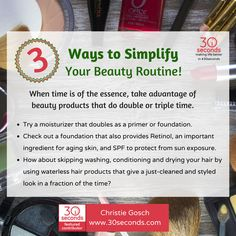 #30Seconds Contributor tells us 3 easy ways to simplify our beauty routines. The trick is using a product that works double time! Thanks Christie! Read the full tip here: https://30seconds.com/beauty/tip/209/How-to-Simplify-Your-Beauty-Routine-When-Youre-Short-On-Time