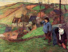 """""""Landschaft der Bretagne"""", öl auf leinwand von Paul Gauguin (1848-1903, France)"""