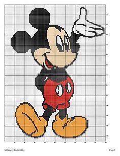 Mickey Mouse x-stitch Disney Cross Stitch Patterns, Cross Stitch Charts, Cross Stitch Designs, Graph Crochet, Crochet Blanket Patterns, Quilt Patterns, Crochet Disney, Disney Stitch, Cross Stitching