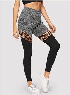Shop Marled Knit Cut-and-sew Leggings online. SHEIN offers Marled Knit Cut-and-sew Leggings & more to fit your fashionable needs. Women's Leggings, Leggings Style, Leopard Leggings, Workout Leggings, Workout Pants, Black Leggings, Young Models, Stretch Pants, Fashion News