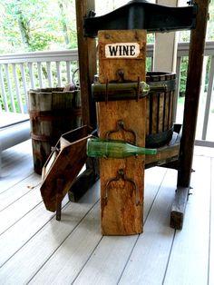 Rustic Wine Rack Barn Wood Farm Rake Tines by Vikkisvintageworks, $50.00