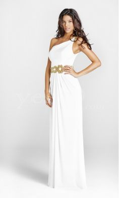 Gorgeous One Shoulder Chiffon White Long Prom Dresses with Beaded.US $219.99