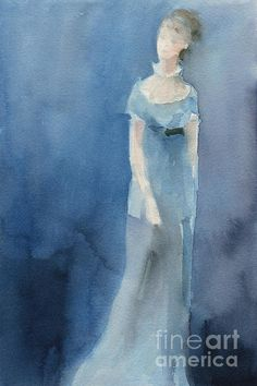Jane Austen Watercolor Painting Art Print. Unframed, framed prints and canvas art for sale from $37. © Beverly Brown. www.beverlybrown.com