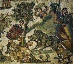 Villa romana del Casale, Piazza Armerina, Sicilia,  I mosaici del IV secolo. Scena della caccia