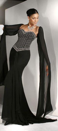 Black Beaded Evening Gown / Wedding Dress http://www.giordanobridal.com/black-wedding-dresses-c-51/black-wd107-p-4316