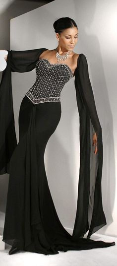 Black Beaded Evening Gown / Wedding Dress http://www.giordanobridal.com/black-wedding-dresses-c-51/black-wd107-p-4316