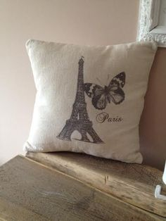 "Vintage Cushion with Provencal Style "" Eiffel Tower"" by ByBeeSee on Etsy Vintage Cushions, Provence Style, Tower, Throw Pillows, Creative, Handmade, Stuff To Buy, Etsy, Vintage Pillows"