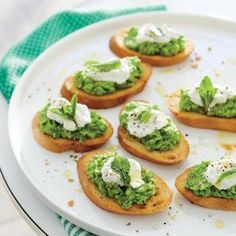 Sweet Pea Crostini with Ricotta | MyRecipes.com