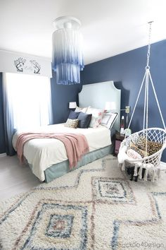 Dark Blue Bedrooms, Blue Rooms, Girls Bedroom Blue, Bedroom With Blue Walls, Girls Bedroom Turquoise, Indigo Bedroom, Blue Bedroom Colors, Blue Bedroom Decor, Bedroom Brown