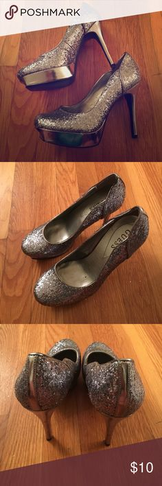 Guess Glitter High Heels Silver glitter. High heels with a platform. Only worn a couple of times. Guess Shoes Heels