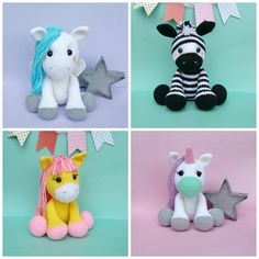 **PLEASE NOTE THIS LISTING IS FOR CROCHET PATTERN NOT ACTUAL TOY**  this listing is for Strawberry the horse, Zeezy the Zebra, Pistachio the Unicorn, and Percy the Pegasus crochet patterns  They measure 15 tall when using an E hook   I recommend it as a beginner/intermediate pattern. The instructions are detailed and easy to follow if you know the basic stitches and techniques used to make amigurumi . The PDF file includes pictures to help you along. Written using U.S crochet terms.  These…