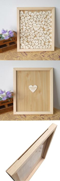 [Visit to Buy] Personalised Wedding Guest book, Custom Drop top Drop box wedding alternative GuestBook with  Hearts, Wedding decoration Gift #Advertisement