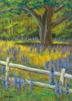 "Lupine at fence is just a picture perfect painting rendered outdoors (plein air).  The view is from across the street from the Sugar Hill Inn in NH.  5x7"" oil painting by Elaine Farmer."