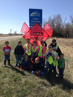 Cub Scout Pack 190 from Bassett, NE picking up trash along Highway 7 just south of Ainsworth.