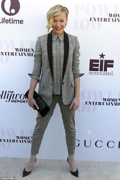 Suits you Miss! Portia de Rossi works androgynous chic in dapper three piece at Power 100 Women In Entertainment event in Los Angeles on Wednesday