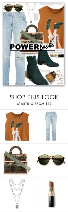 """""""casual power"""" by nineseventyseven ❤ liked on Polyvore featuring Current/Elliott, 711, Lucky Brand, Bobbi Brown Cosmetics, Envi:, Burberry and MyPowerLook"""