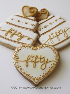 cookie place down the street will make these wedding anniversary Cookies.would do these with lavender and gold 50th Anniversary Cookies, 50th Wedding Anniversary Decorations, Golden Wedding Anniversary, Anniversary Parties, Anniversary Ideas, Second Anniversary, 50th Anniversary Invitations, Anniversary Scrapbook, Wedding Invitations