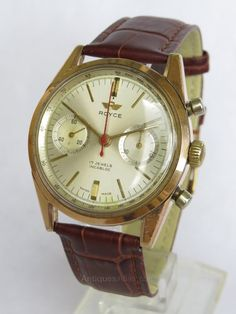 All other Gents Watch Makers, Gents Royce Chronograph Wrist Watch. Gents Watches, Watches For Men, Watch Companies, Pocket Watches, Wrist Watches, Royce, Vintage Watches, Rose Gold Plates, Chronograph