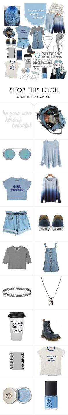"""""""Shades of blue"""" by fallenst4r ❤ liked on Polyvore featuring PBteen, MANGO, Chicwish, Chicnova Fashion, Converse, Monki, Boohoo, Topshop, ASOS and Dr. Martens"""